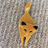 Retro Art Deco Cat Brooch -  Cat Pin by Lea Stein of Paris ( sold)